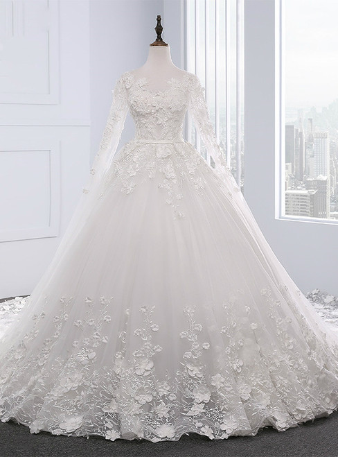 White Ball Gown Long Sleeve Backless Wedding Dresses With Beading