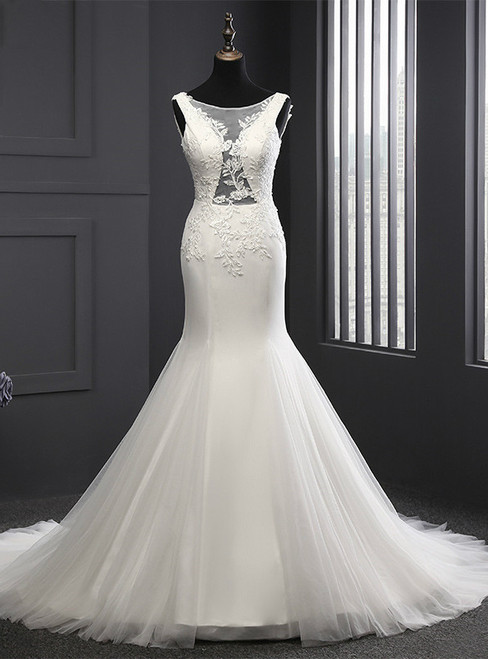Modern Mermaid Wedding Dress Appliques Scoop Neck  Wedding dress