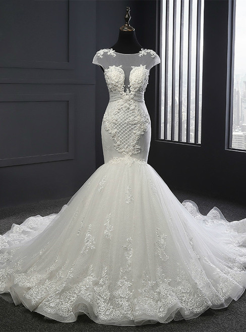 Glamorous Wedding Dresses Mermaid Wedding Dress Appliques Scoop Neck