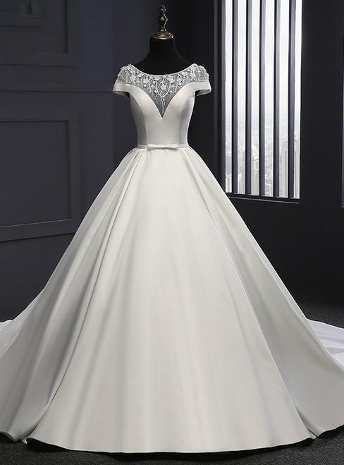 Romance 2017 Wedding Dress Scoop Neck Satin Wedding Dresses