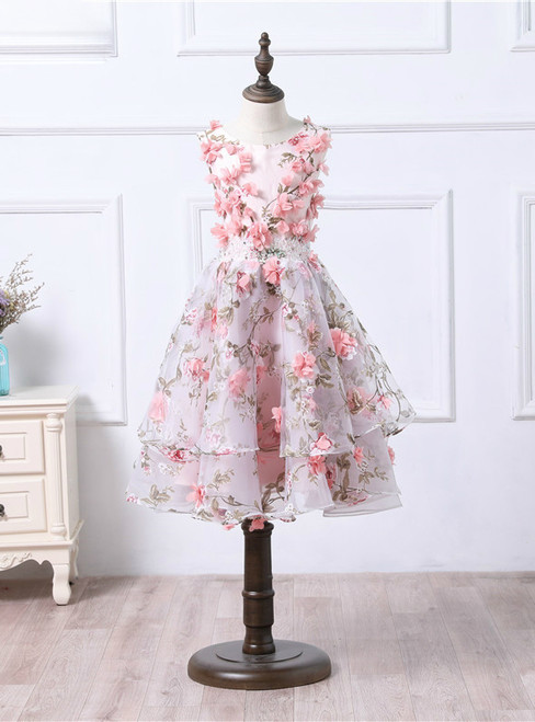 Cute Organza Puffy Flower Girl Dresses Pink 3D Floral Printed Prom Dress