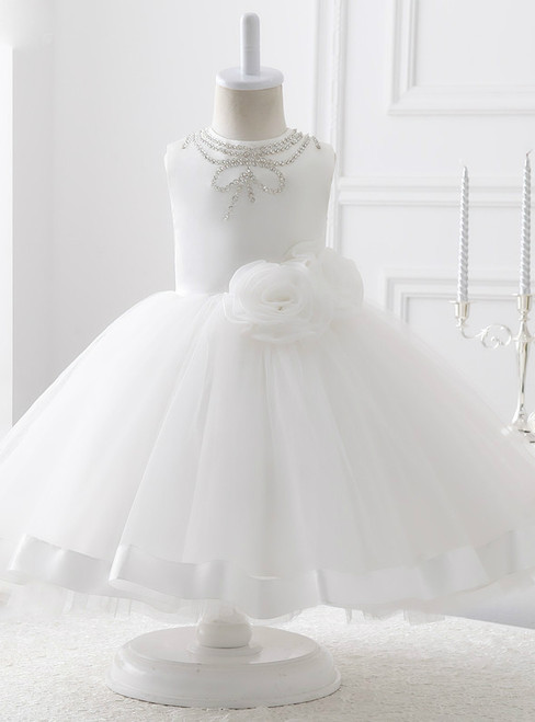 Evening White Organza With Flowers Ball Gown Flower Girl Dresses 2017