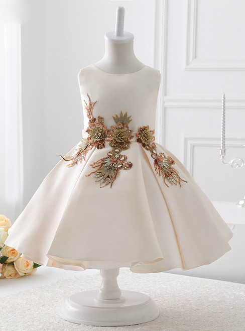 2017 A-line Satin With Appliques Bow Flower Girl Dresses