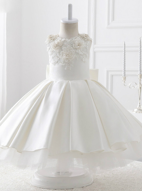 Evening White Satin With Bow Ball Gown Flower Girl Dresses 2017