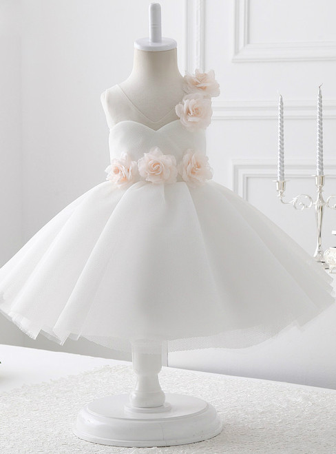 V-neck White Tulle With Flowers flower girl dress