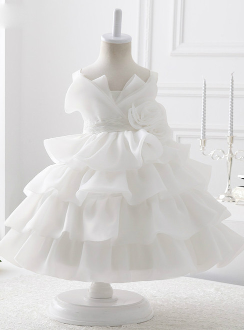 White Organza With Flowers Ball Gown Flower Girl Dresses 2017