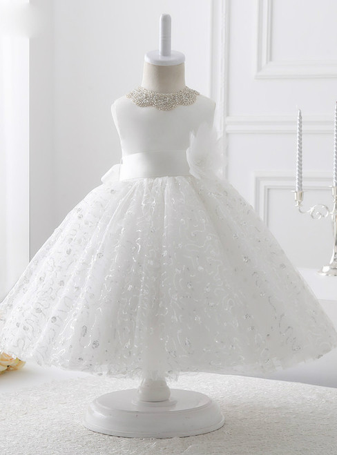 2017 White Organza with sequin flower girl dress