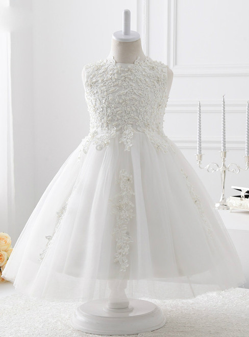 2017 White Tulle with beading A line flower girl dress