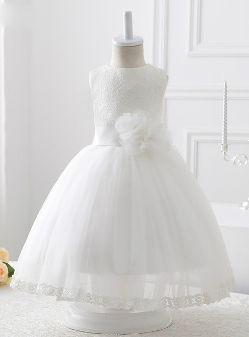 2017 A-line White Tulle With Lace Flower Girl Dresses