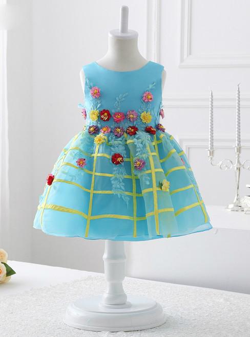 2017 Sky Blue Organza flower girl dress for Weddings