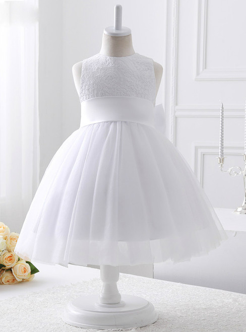 A-line White Tulle With Ribbons flower girl dress
