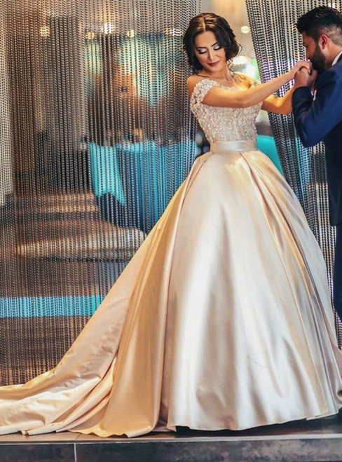 Gold Champagne Vintage Satin Ball Gowns Prom Dresses