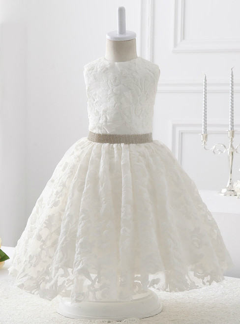 2017 style White Lace with beading flower girl dress
