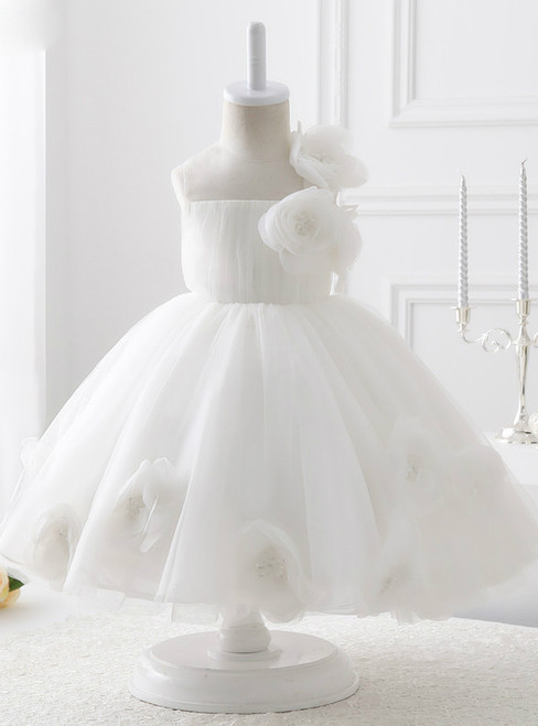 Luxury Ball Gown White Organza Flower Girl Dresses