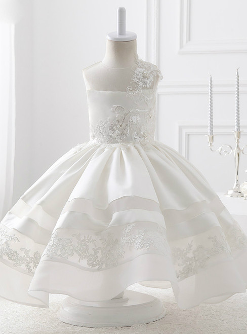 Evening White Satin With Flowers Ball Gown Flower Girl Dresses 2017