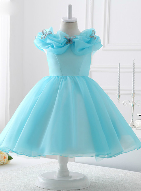 Fashion Light Blue Organza flower girl dress