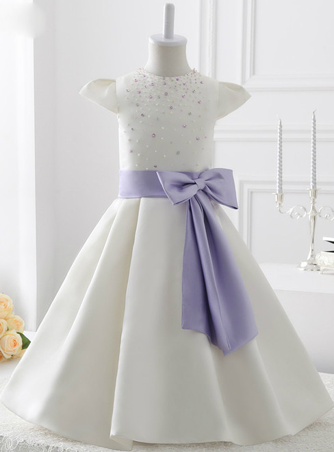 A-Line White Satin With Bow Flower Girl Dress With Pearls