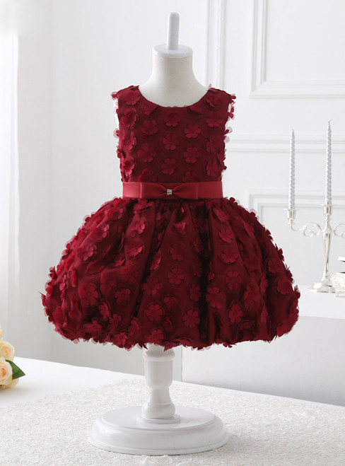 A-Line Burgundy Appliques Flower Girl Dress With Bow