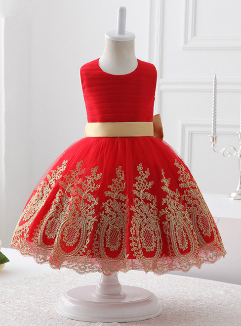 Red Tulle Red Lace Appliques Flower Girl Dress With Bow