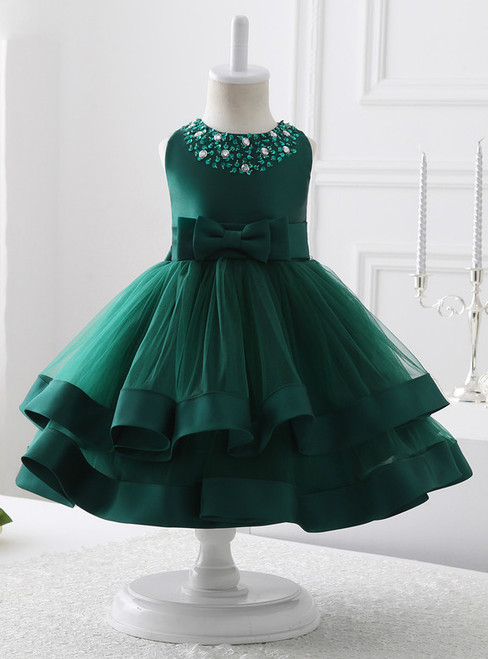 eabd4652596 A-Line Green Tulle Short Flower Girl Dress With Beading