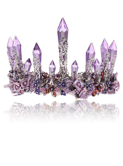 Purple Crystal Queen King Wedding Noble Crown Tiara Bride Prom Flower Perfect
