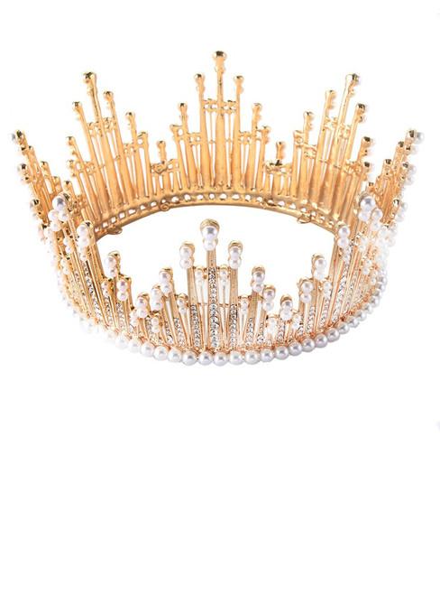 Luxury Rhinestone Round Wedding Queen King Crown For Bridal Tiaras