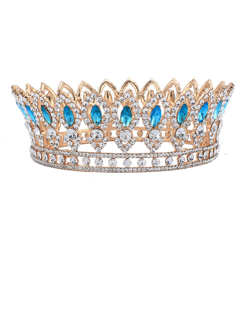 Wedding Bridal Rhinestone Full Crown Horse Eye Blue Crystal Hair Tiaras