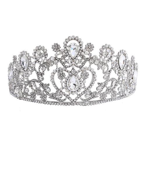 Big wedding bridal clear crystal tiara crown Adult rhinestone tiara hair