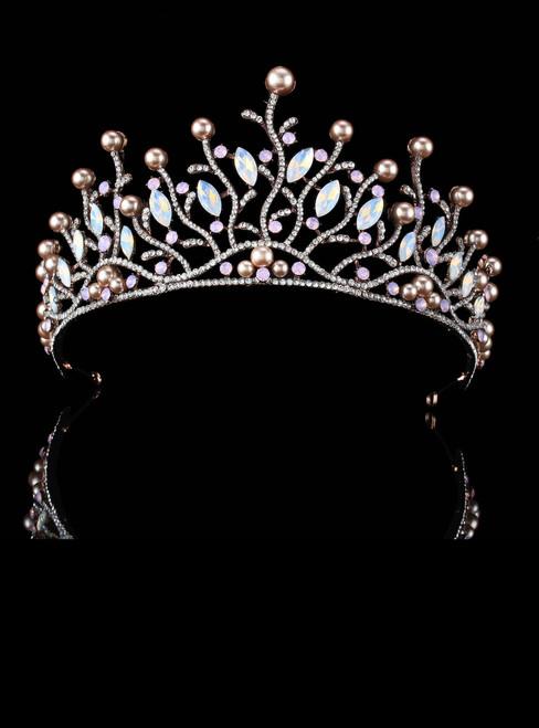 Big European Bride Wedding Crown Austrian Crystal Leaf Queen Crown