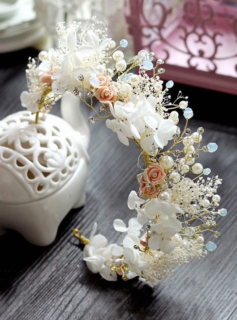 Elegance Flower Leaf Crystal Pearls Wedding Hair Vine Headband Bridal