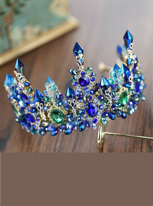 Luxury European Designs Crystal Queen Princess Tiaras Crown Rhinestone Diadem