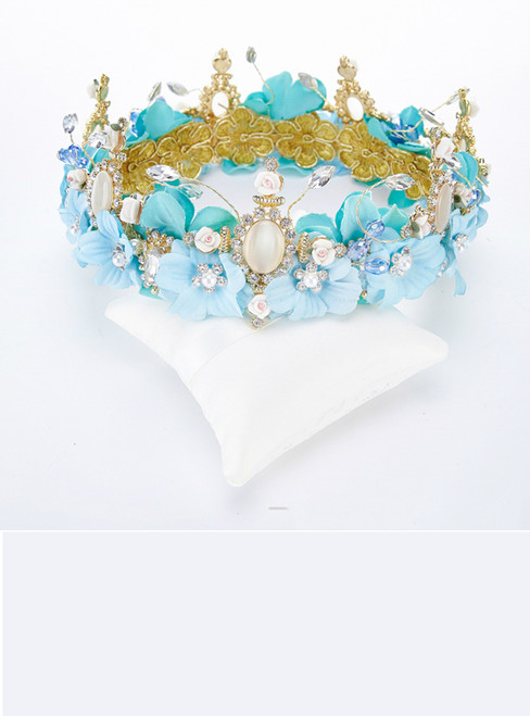Blue Flower Butterfly Tiara Crown Baroque Queen Wedding Party Hair Accessories
