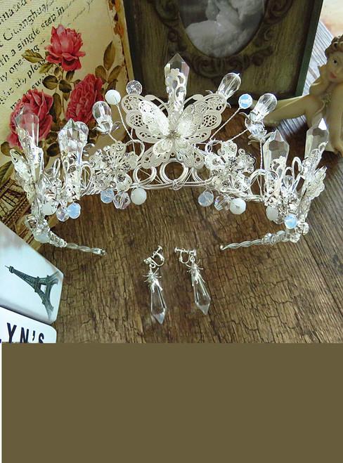 Luxury Clear Crystal Baroque Butterfly Wedding Crowns Bridal Tiara