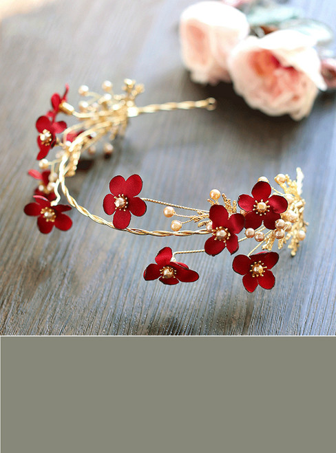 Handmade Bridal Wine Red Flower Headbands Simulated Pearls Hairband