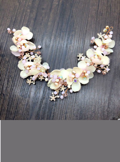 Pink Floral Hairband Hair Ornaments Gifts Bridal Wedding Hair Accessories