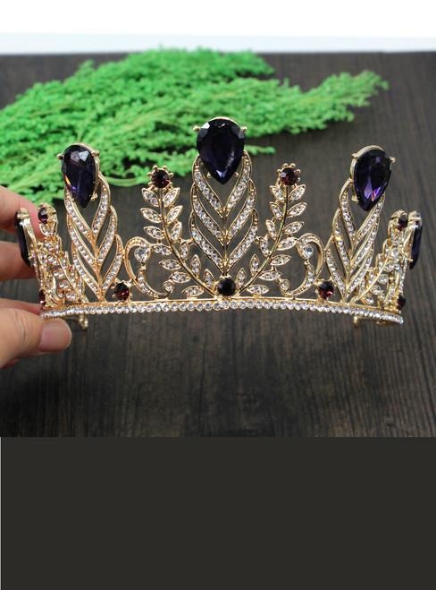 Gold Vintage European Crystal Olive Branch Vine Pageant Hair Crown