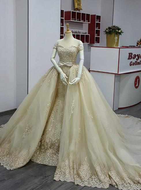 Champagne A line Appliques Lace Detachable Train With Bow Bridal Dresses