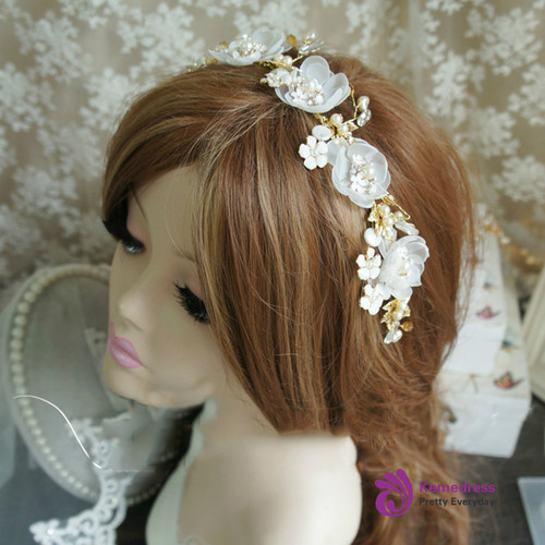 Handmade Flower Wedding Headpiece Bridal Golden Leaf Pearl Beautiful