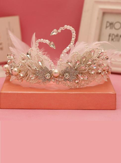Feather Beads Crystal Princess Dancing White Swan Wedding Hair