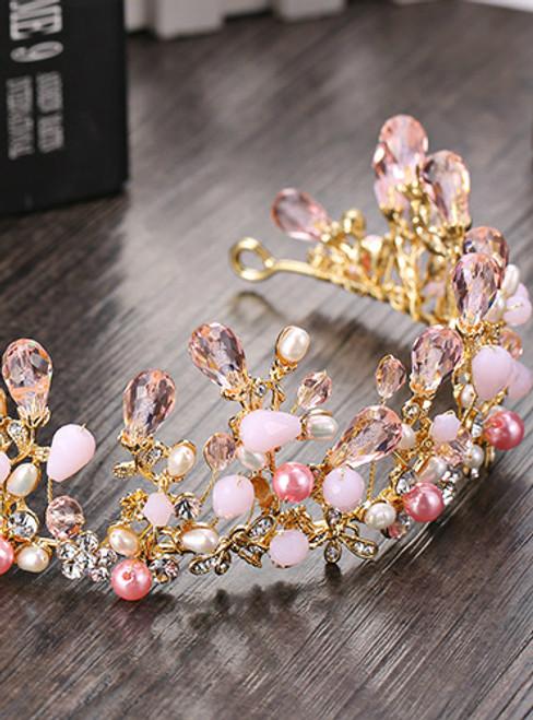 Pretty Pink Crystal Bridal Crowns Tiaras Girls Pearl Beads Wedding Hair