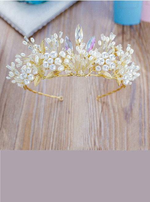 Pearl Crystal Hair Crown Golden Color Leaf Hairband Rhinestone Wedding hair Accessories
