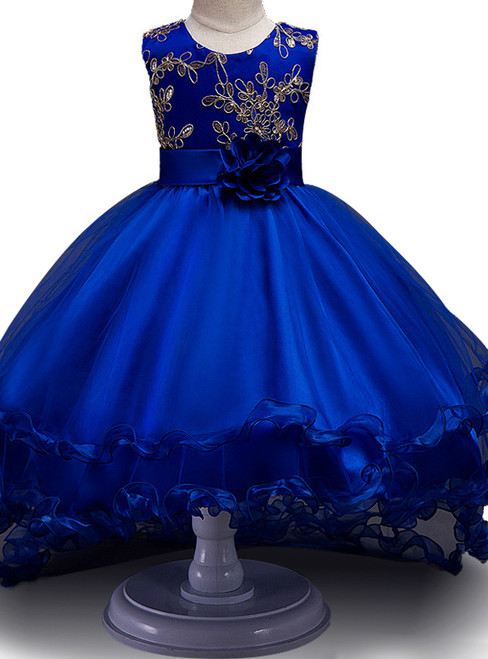 Flower Girl Dress Sequined Wedding Drag the floor Party Dress embroidery