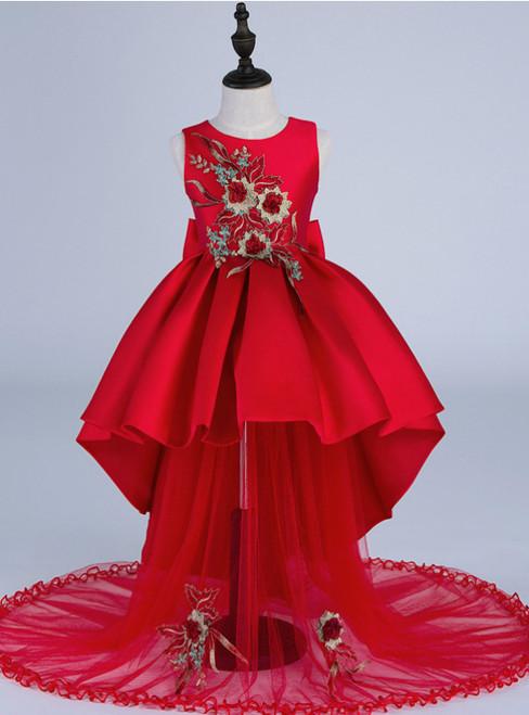 High quality silk embroidery Kids Girls Flower Dress Girl Dresses