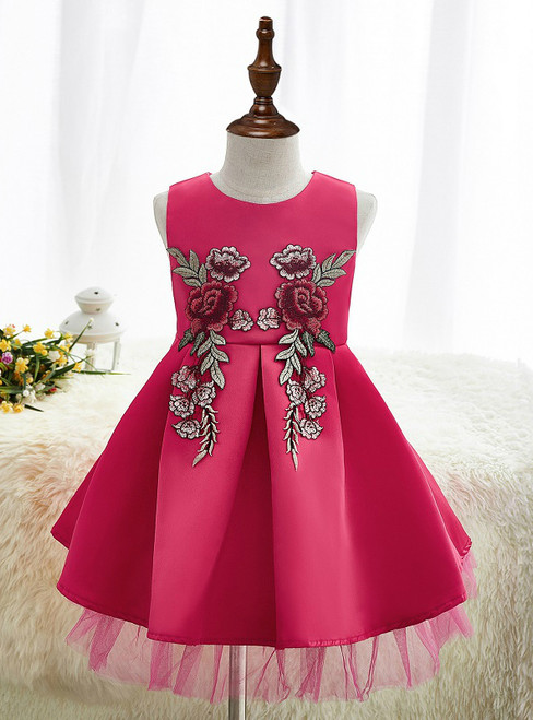 Christmas Kids Silk embroidery Dresses for Girls Formal Party