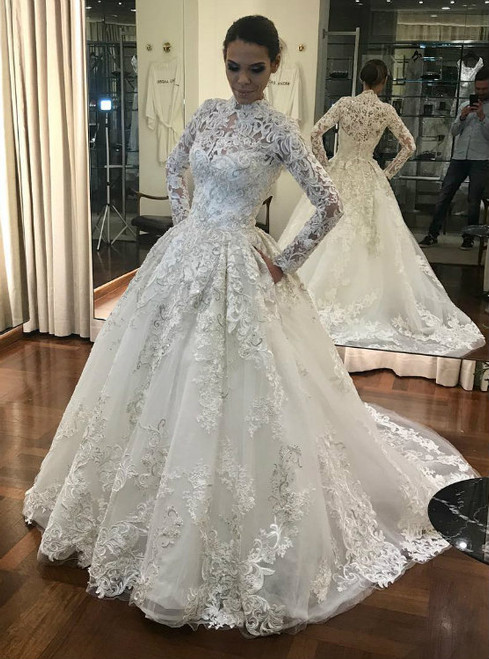 White Long Sleeves High Neck Muslin Bridal Dresses 2018