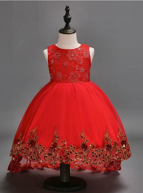 Baby Girls Dress Wedding Dress red After Short Before Long Lace Cute Dress