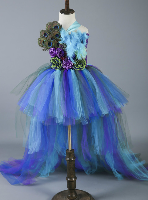 Birthday Party Dress Train Pageant Ball Gowns For Children Tulle Flower Girl Dresses