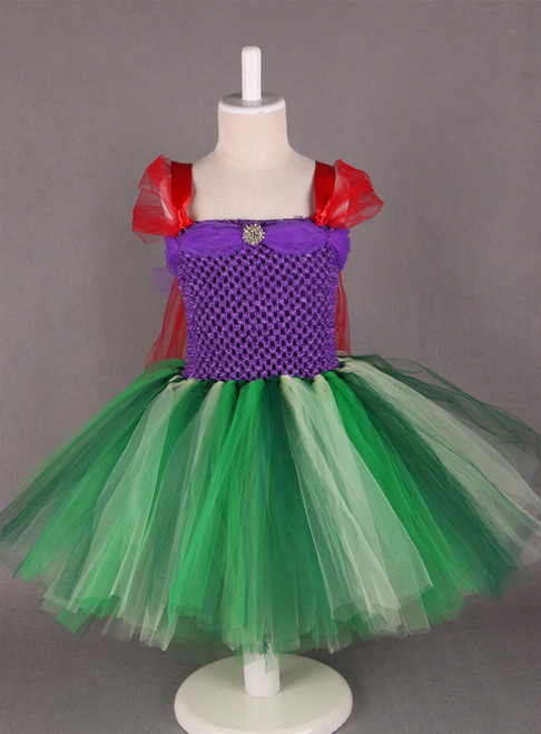 Cosplay Princess Ariel Dress Costume Knee-Length Baby Girl Halloween