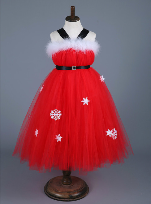 Children Christmas Dresses for Girls New Year Clothes Kids Baby Girls Party Red Tulle