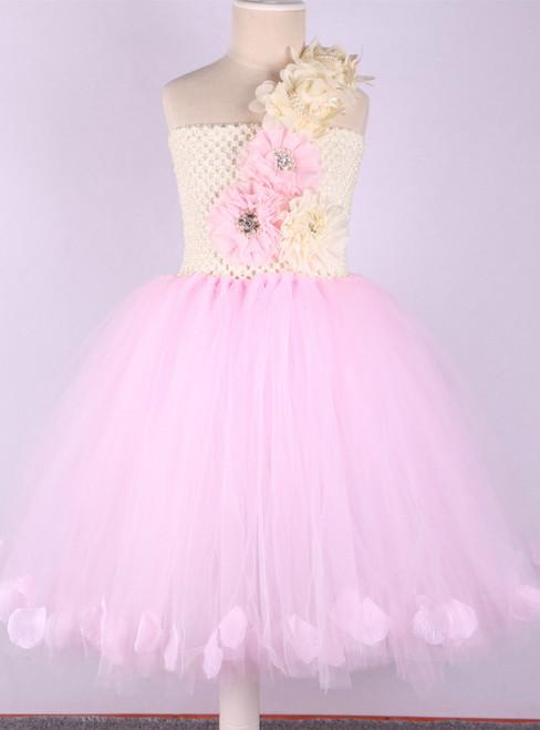 4892b38f5e Pink Princess Flower Girl Dresses Wedding Ball Gowns Rose Petals